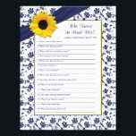 "Yellow Sunflower Navy Blue Bridal Shower Game Letterhead<br><div class=""desc"">You can personalize the name on this yellow sunflower, navy blue and white floral and ribbon personalized bridal shower &quot;who knows the bride best&quot; game. You can change the text using the personalize options. The colors on this bridal shower game are yellow, navy blue and white... perfect for a spring,...</div>"
