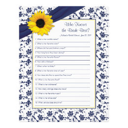 Yellow Sunflower Navy Blue Bridal Shower Game Letterhead