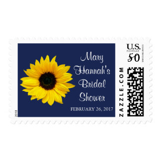 Yellow Sunflower Navy Blue Bridal Shower Postage