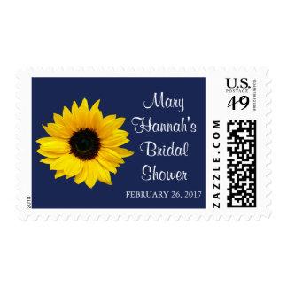 Yellow Sunflower Navy Blue Bridal Shower Postage