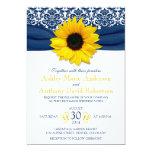 Yellow Sunflower Navy Blue Damask Ribbon Wedding 5x7 Paper Invitation Card
