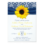 Yellow Sunflower Navy Blue Damask Ribbon Wedding Announcements