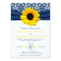 Yellow Sunflower Navy Blue Damask Ribbon Wedding 5x7 Paper Invitation Card (<em>$2.27</em>)