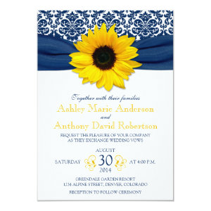 Yellow Sunflower Navy Blue Damask Ribbon Wedding 5x7 Paper Invitation Card