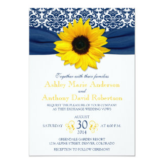 "Yellow Sunflower Navy Blue Damask Ribbon Wedding 5"" X 7"" Invitation Card"