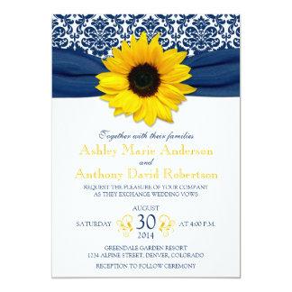 Yellow Sunflower Navy Blue Damask Ribbon Wedding Invitation