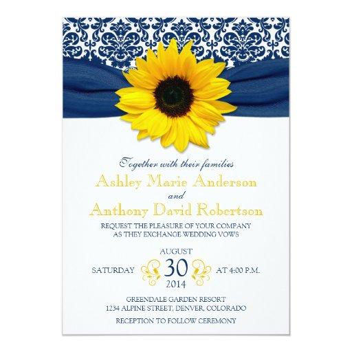 Yellow Sunflower Navy Blue Damask Ribbon Wedding 5x7 Paper