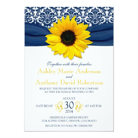 Yellow Sunflower Navy Blue Damask Ribbon Wedding