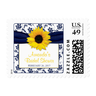 Yellow Sunflower Navy Blue Floral Bridal Shower Postage