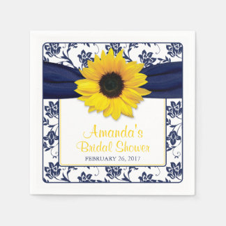 Yellow Sunflower Navy Blue Personalized Wedding Paper Napkin