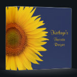 """Yellow Sunflower Navy Blue Recipe Binder<br><div class=""""desc"""">The text on this navy blue bold yellow sunflower recipe binder is fully customizable. Really, it can be used as any kind of binder. Some suggestions are a journal, a wedding album binder, a wedding planning binder, a school binder, etc. All you need to do is change the text. This...</div>"""
