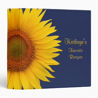 Yellow Sunflower Navy Blue Recipe Binder