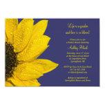 Yellow Sunflower Navy Bridal Shower Invitation