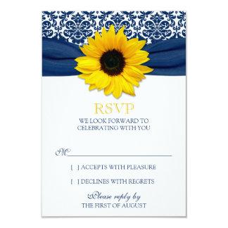 Yellow Sunflower Navy Damask Ribbon Wedding RSVP Card
