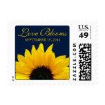 Yellow Sunflower Navy Love Blooms Wedding Postage