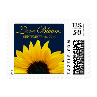 Yellow Sunflower Navy Love Blooms Wedding Postage