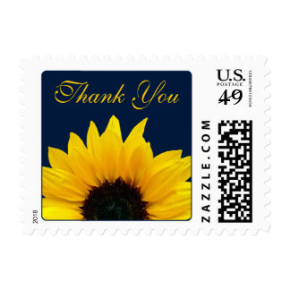 Yellow Sunflower Navy Wedding Thank You Postage