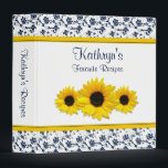 """Yellow Sunflower Navy White Damask Recipe Binder<br><div class=""""desc"""">The text on this chic navy blue and white floral damask yellow sunflower recipe binder is fully customizable. Really, it can be used as any kind of binder. Some suggestions are a journal, a wedding album binder, a wedding planning binder, a school binder, etc. All you need to do is...</div>"""