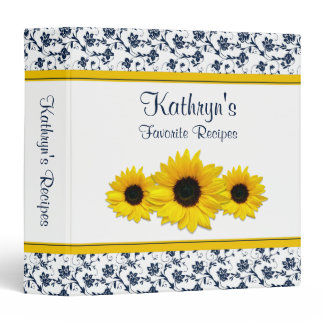 Yellow Sunflower Navy White Damask Recipe Binder