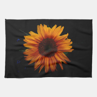 Yellow Sunflower on Black Hand Towel