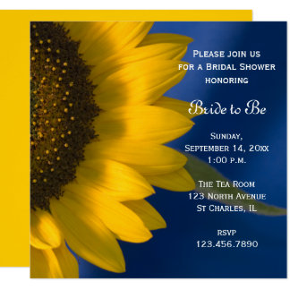 Yellow Sunflower on Blue Bridal Shower Invitation