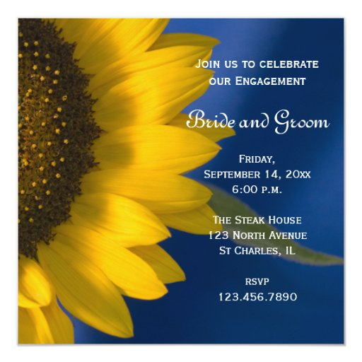 Yellow Sunflower on Blue Engagement Party Invitation
