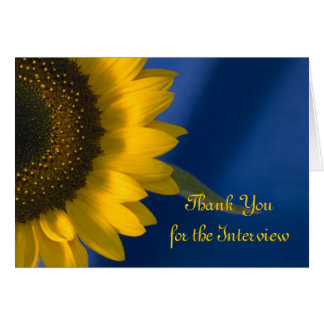 Yellow Sunflower on Blue Interview Thank You Card