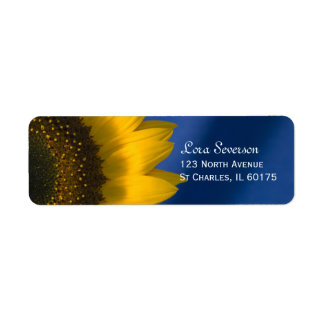Yellow Sunflower on Blue Return Address Label