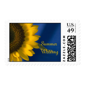 Yellow Sunflower on Blue Summer Wedding Postage
