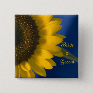 Yellow Sunflower on Blue Wedding Button