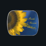 """Yellow Sunflower on Blue Wedding Favor Jelly Belly Candy Tin<br><div class=""""desc"""">The pretty Sunflower on Blue Wedding Favor Candy Tin can be pre filled with your favorite flavor of jelly beans or mints. Personalize it with the personal names of the bride and groom and specific marriage ceremony, engagement party or bridal shower date. This cute and custom botanical wedding favor features...</div>"""