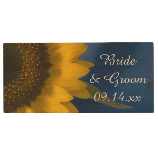 Yellow Sunflower on Blue Wedding Favor Wood Flash Drive