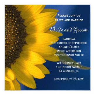 Yellow Sunflower on Blue Wedding Invitation