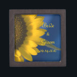 "Yellow Sunflower on Blue Wedding Jewelry Box<br><div class=""desc"">Customize the pretty Sunflower on Blue Wedding Gift Box with the personal names of the newlywed bride and groom and specific summer or fall marriage ceremony date. Create a beautiful personalized keepsake wedding gift for the newlyweds thank you present for your wedding attendants, bridesmaids and bridal party. This elegant little...</div>"