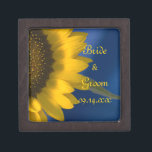 """Yellow Sunflower on Blue Wedding Jewelry Box<br><div class=""""desc"""">Customize the pretty Sunflower on Blue Wedding Gift Box with the personal names of the newlywed bride and groom and specific summer or fall marriage ceremony date. Create a beautiful personalized keepsake wedding gift for the newlyweds thank you present for your wedding attendants, bridesmaids and bridal party. This elegant little...</div>"""