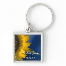 Yellow Sunflower on Blue Wedding Keychain