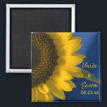 """Yellow Sunflower on Blue Wedding Magnet<br><div class=""""desc"""">Customize the pretty Yellow Sunflower on Blue Wedding Magnet with the personal names of the bride and groom and their summer or fall marriage ceremony date. Create an elegant personalized keepsake wedding gift, save the date magnet or unique bridal shower favor. This classy custom flowery wedding magnet features a close...</div>"""
