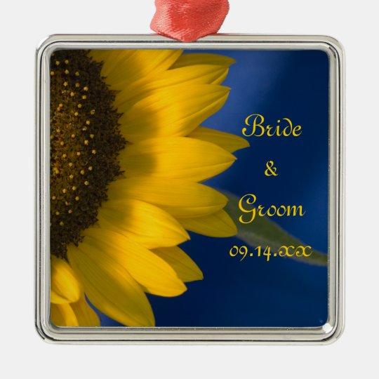 Yellow Sunflower on Blue Wedding Metal Ornament