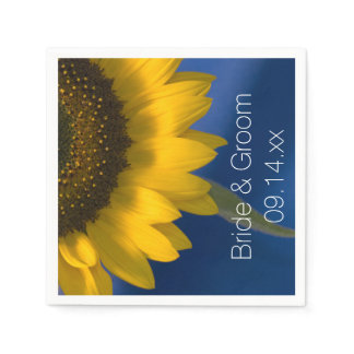 Yellow Sunflower on Blue Wedding Paper Napkin