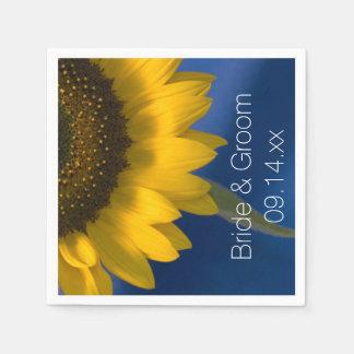 Yellow Sunflower on Blue Wedding Paper Napkins