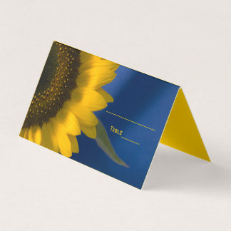 Yellow Sunflower on Blue Wedding Place Card