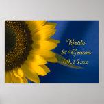 Yellow Sunflower on Blue Wedding Poster