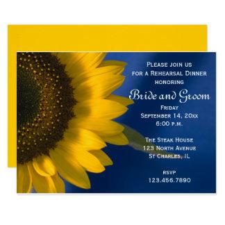 Yellow Sunflower on Blue Wedding Rehearsal Dinner Invitation