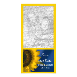 Yellow Sunflower on Blue Wedding Save the Date Card