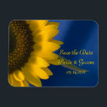 "Yellow Sunflower on Blue Wedding Save the Date Magnet<br><div class=""desc"">Announce your summer or fall marriage with the pretty Yellow Sunflower on Blue Wedding Save the Date Flexible Magnet. This elegant custom botanical wedding keep the date bendable magnet features a floral photograph of a yellow sunflower on a blue background.</div>"