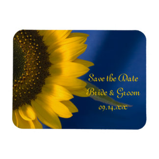 Yellow Sunflower on Blue Wedding Save the Date Rectangular Photo Magnet