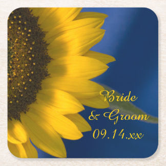 Yellow Sunflower on Blue Wedding Square Paper Coaster