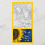 """Yellow Sunflower on Blue Wedding Thank You<br><div class=""""desc"""">Send thoughts of thanks, appreciation and gratitude after your summer or fall engagement party, bridal shower or marriage with the pretty Yellow Sunflower on Blue Wedding Thank You Photo Card. This elegant custom flowery wedding thank you photocard features a close up floral photograph of a yellow sunflower blossom on a...</div>"""
