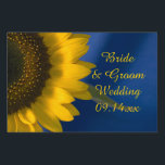 "Yellow Sunflower on Blue Wedding Yard Sign<br><div class=""desc"">Customize the pretty Yellow Sunflower on Blue Wedding Yard Sign with the personal names of the bride and groom and specific marriage ceremony date to direct your wedding guests to the location of your nuptials. This elegant custom flowery wedding yard sign features a yellow sunflower blossom with a blue background....</div>"