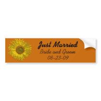 Yellow Sunflower on Orange Just Married Wedding Bumper Sticker